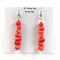 Peach coral beaded earrings with 925 sterling silver hooks