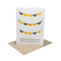 Unisex New Baby Card - Bunting Yellow and Grey - BBY008
