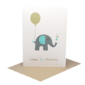 1st Birthday Card Boy, Elephant with Blue Party Balloon, HBC194