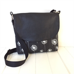 Cross Body Bag in Black and White Dandelion Fabric with Black Leather