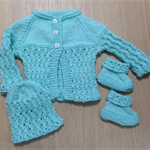 Baby Cardigan, Beanie and Shoe Set