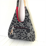 Hobo Shoulder Bag in Black & White Bubbles Fabric & Cork Strap