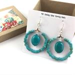 Turquoise hoop earrings with 925 sterling silver hooks