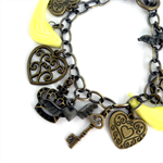 Yellow and Bronze Steampunk Charm Bracelet