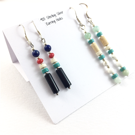 Turquoise, Lapis and Onyx 2 pair earring set with 925 sterling silver hooks
