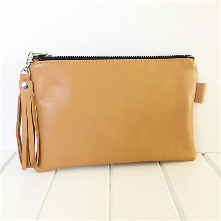 Leather Zipper Pouch, Camel Brown Leather Pouch