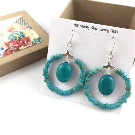 Turquoise hoop earrings with 925 sterling silver hooks