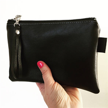 Leather Zipper Pouch, Black Leather Pouch