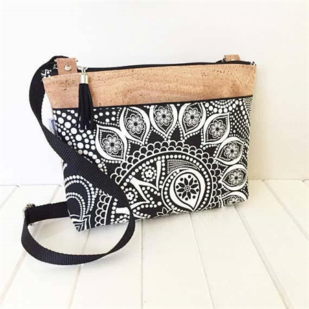 Fabric and Cork Zipper Cross Body Bag in Black and White