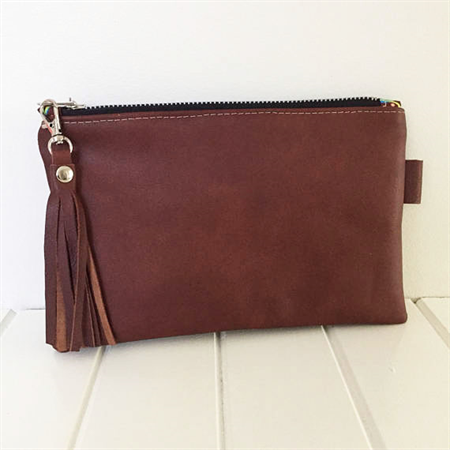 Leather Zipper Pouch, Brown Leather Pouch