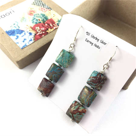 Turquoise square beaded earrings with 925 sterling silver hooks