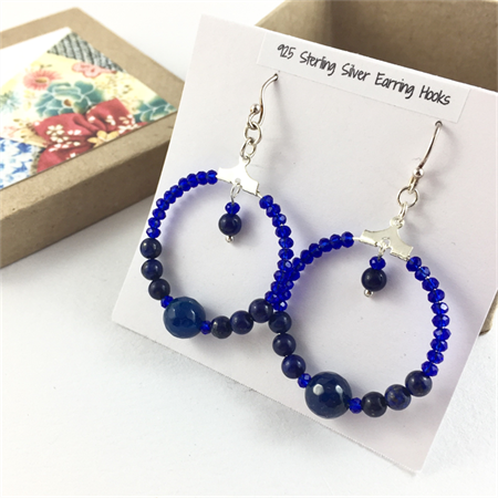 Lapis lazuli and crystal hoop earrings with 925 sterling silver hooks