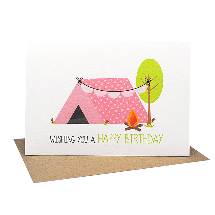 Birthday Card Girl Girls Camping Tent And Bunting For A Girl