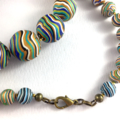 Handcrafted Polymer Clay Long Necklace- green and white stripes