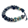 Mens Bracelet- black carved wood and turquoise ceramic woven on leather