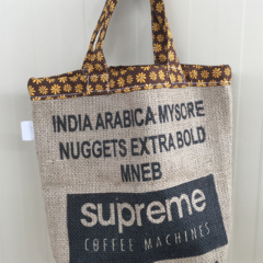 Recycled Coffee Burlap Grocery/Shopping Plastic Free Tote - Brown Flowers