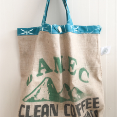 Recycled Camec Coffee  Burlap/Hessian Recycled Tote Bag - Dragonflies