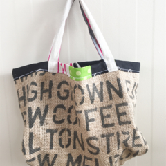 Recycled Coffee Burlap Grocery/Shopping Tote/Bag - Echino Scooters