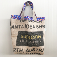 Recycled Coffee Burlap Grocery/Shopping Plastic Free Tote - Kenya Blue