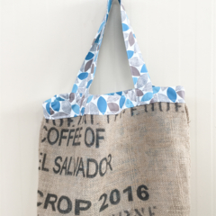 Recycled Coffee Burlap Bag.  Grocery/Shopping Tote - Organic Leaves