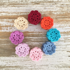 Handmade crochet flowers, pack of 5, sewing, appliqué, craft