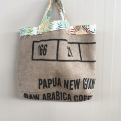 Recycled Coffee Burlap Grocery/Shopping Plastic Free Tote - Burst Flowers