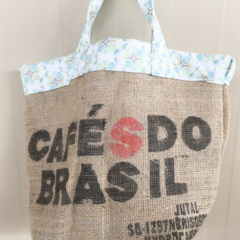 Recycled Coffee Burlap Grocery/Shopping Plastic Free Tote - Circles Circles