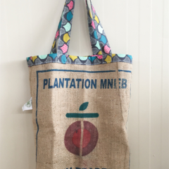 Recycled Origin Traders Beach/Overnight Burlap/Hessian Tote Bag - Bright Fans