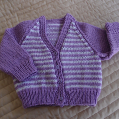 3-12mths - Hand knitted cardigan in Purple & White: Girl, washable,