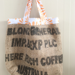 Recycled Coffee Burlap Grocery/Shopping Plastic Free Tote - Orange Flowers