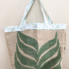 Recycled Coffee Burlap Grocery/Shopping Plastic Free Tote - Circles
