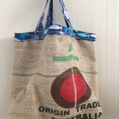 Recycled Coffee Burlap Bag.  Grocery/Shopping Tote - Organic Fishes