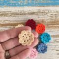 Handmade crochet flowers, pack of 5, sewing, appliqué, craft