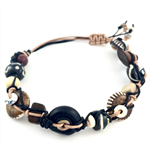 Mens Bracelet- carved wood and howlite woven on leather
