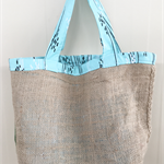 Recycled Coffee Burlap Grocery/Shopping Plastic Free Tote - Stripes