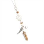 Boho Crystal point charm necklace