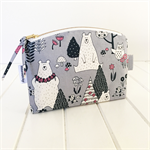 Make Up Pouch Purse with Woodland Animal Fabric and Gold Metal Zipper Closure