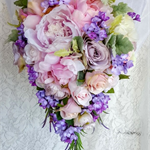 Romantic Pastel Pink and Mauve Peony, Rose and Lilac Trailing Bouquet for Bride