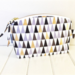 Make Up Pouch Purse with Triangle Geometric Fabric and Gold Metal Zipper Closure