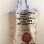 Recycled Origin Coffee  Beach/Overnight Burlap/Hessian Tote Bag - Rainbow Drops