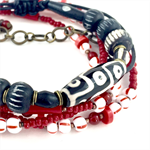 Mens Bracelet Stack Combo- one bracelet and one bracelet/necklace- red/black