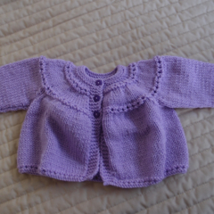 Newborn -3mths cardigan/jacket in purple: girls, washable