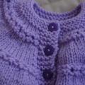 Newborn -3mths cardigan/jacket in purple: girls, washable