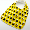 Infant Dribble Bib-Bees on Cotton Fabric, Bamboo Toweling, Snap Fastened.