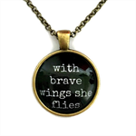 With brave wings she flies ~ inspiring necklace ~ sku:INS008black