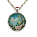 Round butterfly necklace | long chain | silver or bronze | BTF009