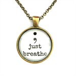 ; just breathe | quote necklace | give or keep | INS003white