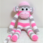 Sock Monkey - Striped white, hot pink, pale pink and grey