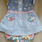 Upcycled Cotton Dress & Pants Set ♡ Size 6-12 Months ☆ One Off ☆ Ready to send ☆