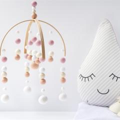 Baby Crib Mobile. Nursery Cot Mobile. Peach Pink White Girls Felt Ball Mobile.